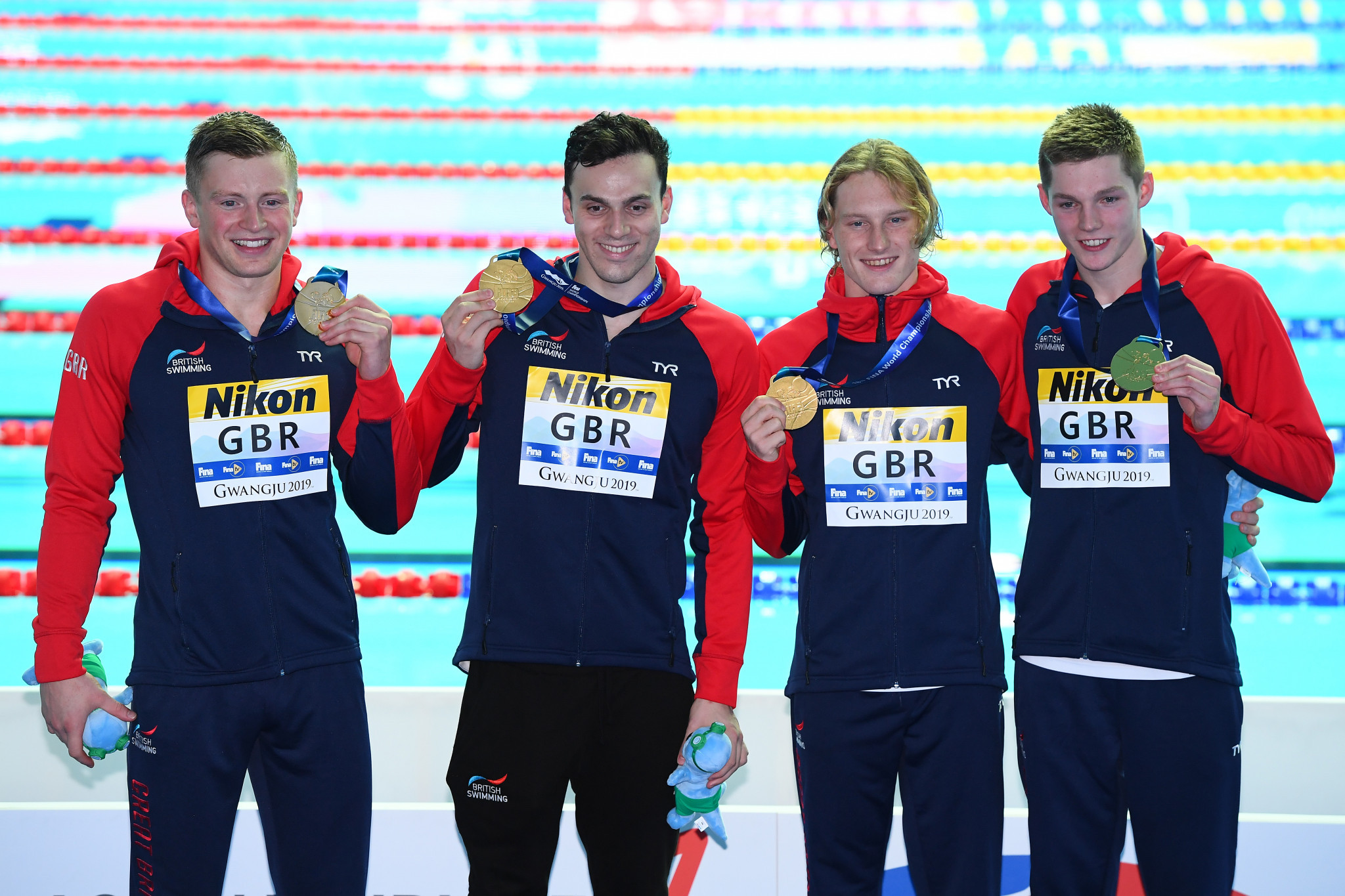 Adam Peaty, James Guy, Luke Greenbank and Duncan Scott won gold in the men's 4x100m medley relay at the 2019 World Championships ©Getty Images