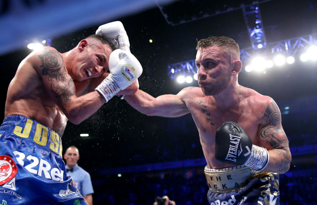 Carl Frampton, right, is due to take on American James Herring for the WBO Super Featherweight Championship next month ©Getty Images