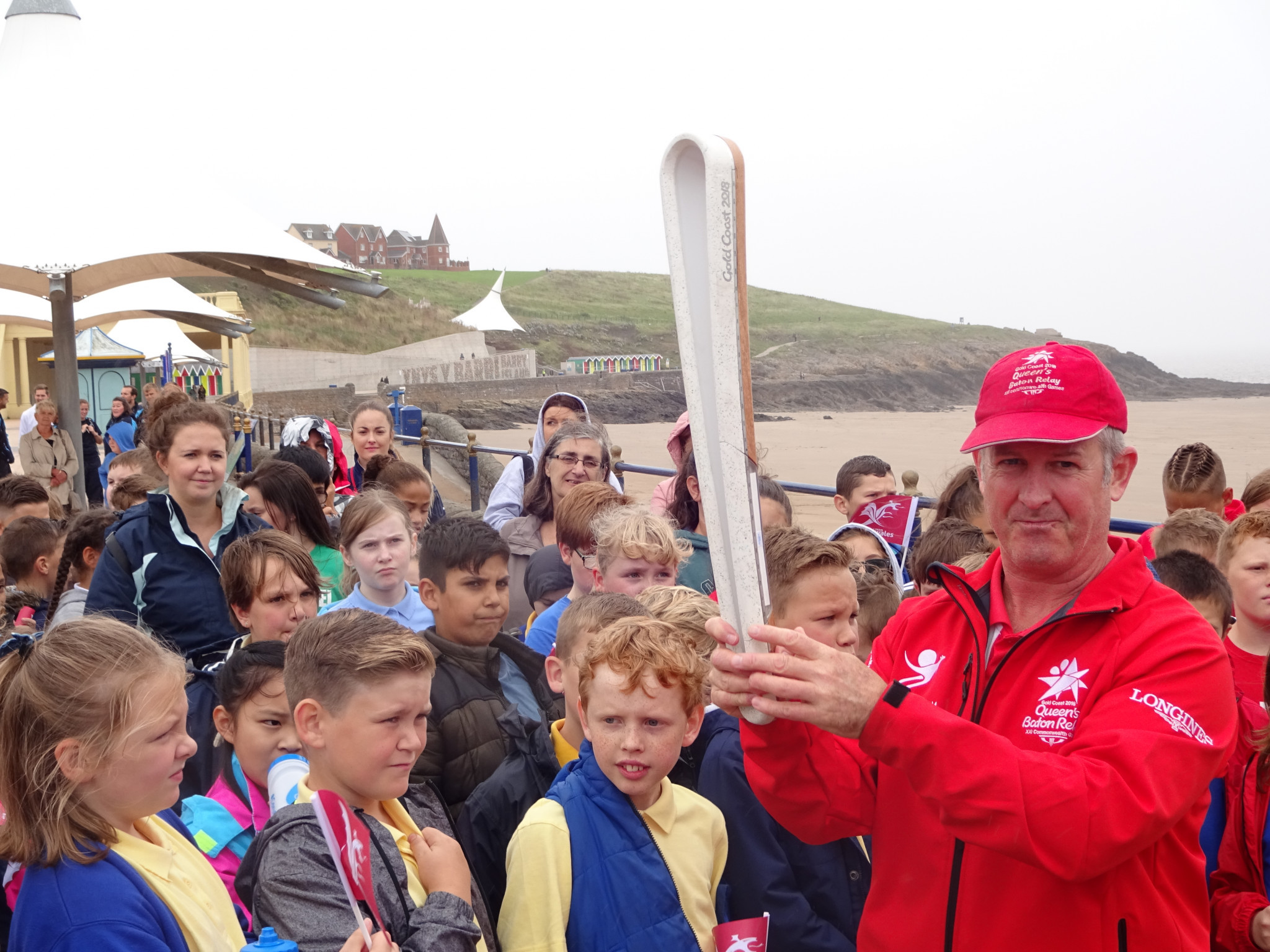 Children check out the Gold Coast 2018 Baton in Barry in Wales ©Philip Barker