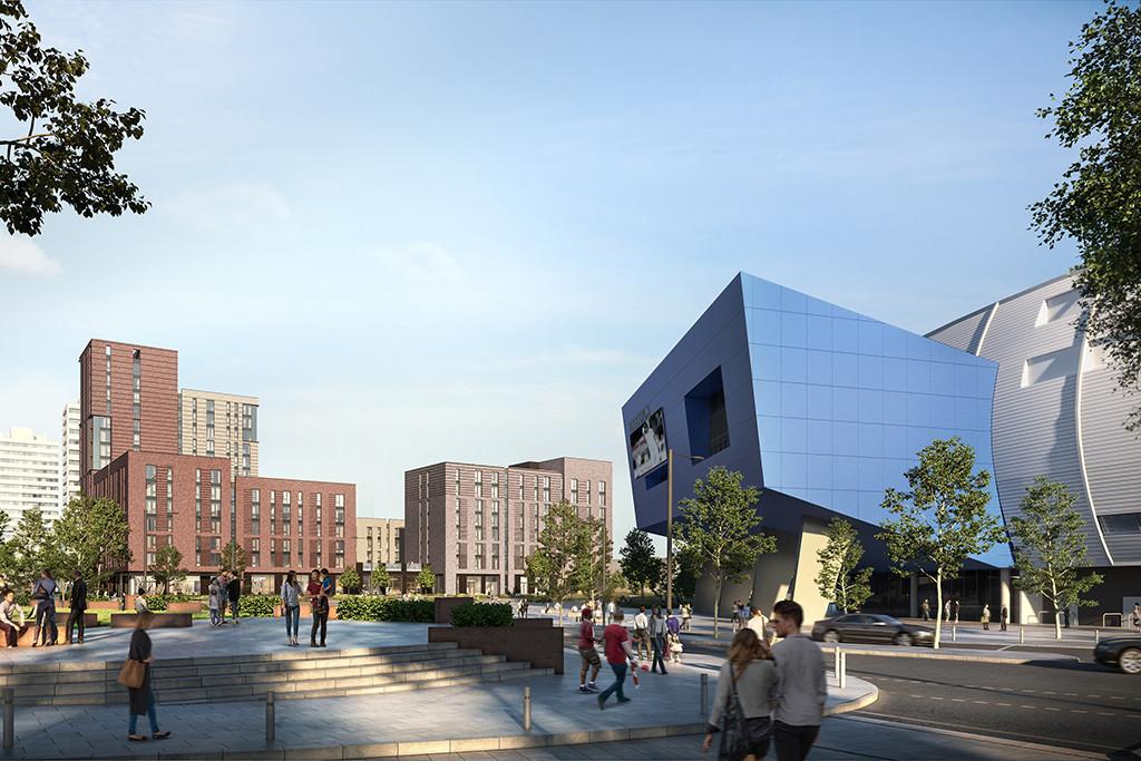 The redevelopment at Edgbaston will include a plaza outside the stadium ©Winvic