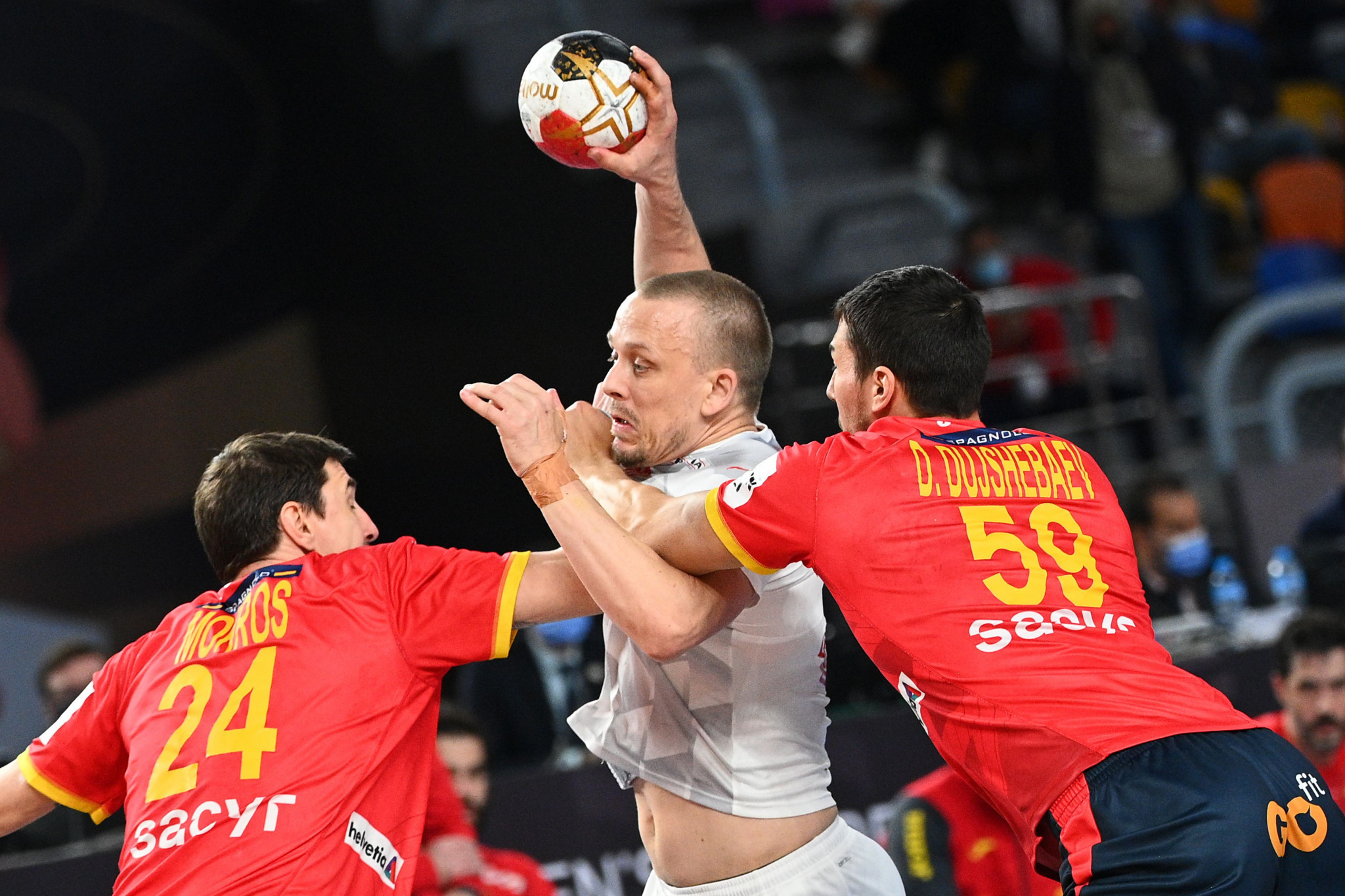 Defending champions Denmark (in white) will have the chance to retain their IHF World Men's Handball Championship title after edging out Spain in today's semi-final ©Getty Images