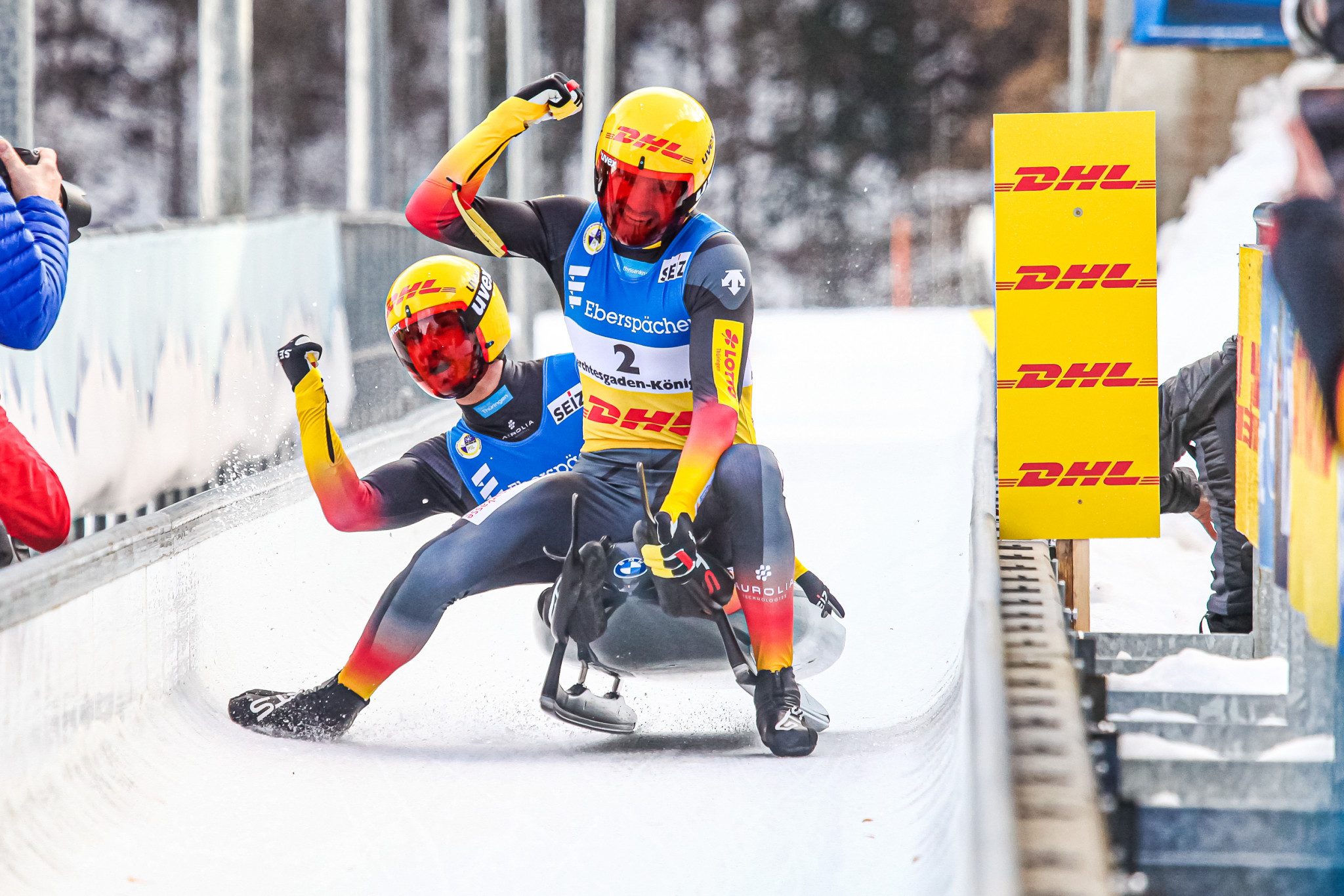 German pair Toni Eggert and Sascha Benecken triumphed in the doubles event at the Luge World Championships ©FIL