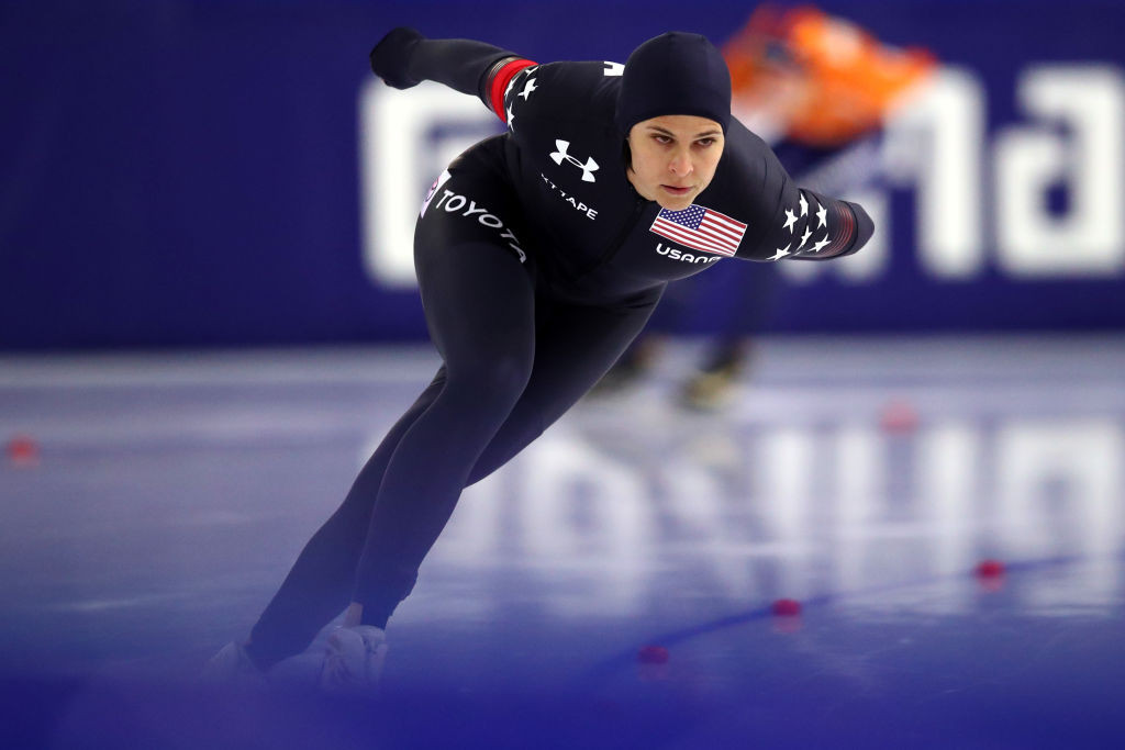Brittany Bowe of the US was among the non-Dutch winners in Heerenveen today ©Getty Images