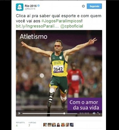 Oscar Pistorius is said to have appeared in a Rio 2016 promotional video ©Twitter
