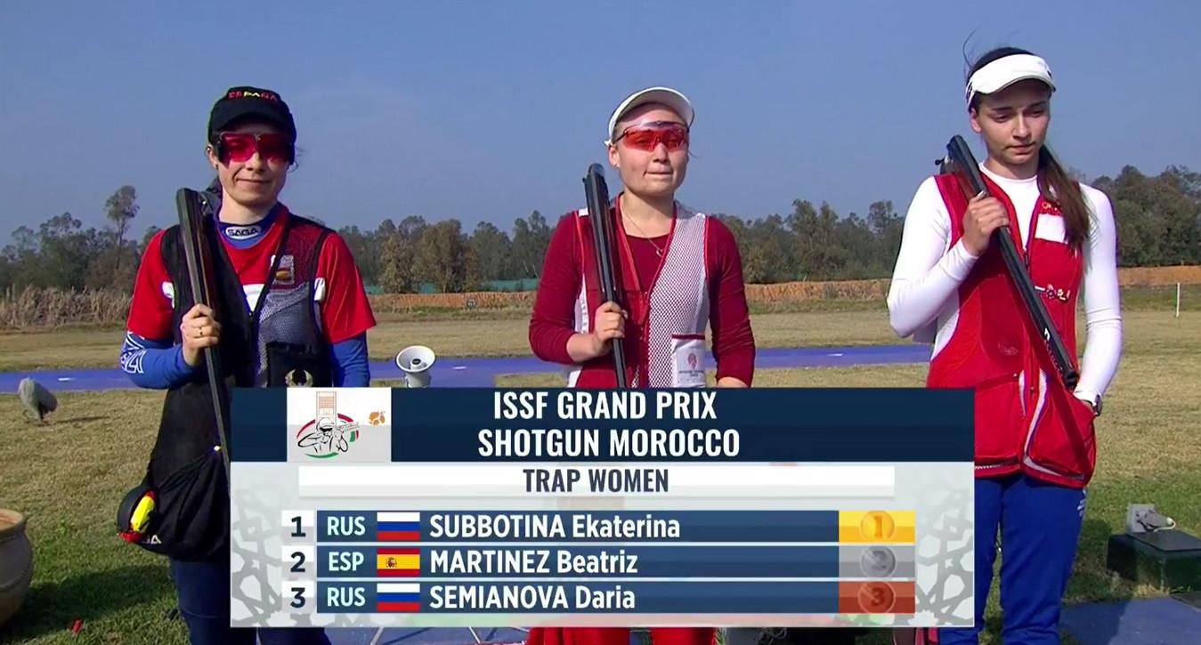 Россиянка Екатерина Субботина оказалась слишком сильной в финале женского траппа © ISSF