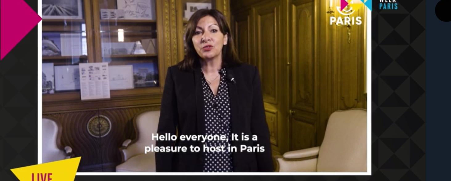 Ann Hidalgo, maire de Paris, a envoyé un message à la Semaine mondiale du sport, tout comme le maire de Los Angeles, Eric Garcetti, et des responsables de Tokyo, Pékin, Dakar et Milan. © GSW