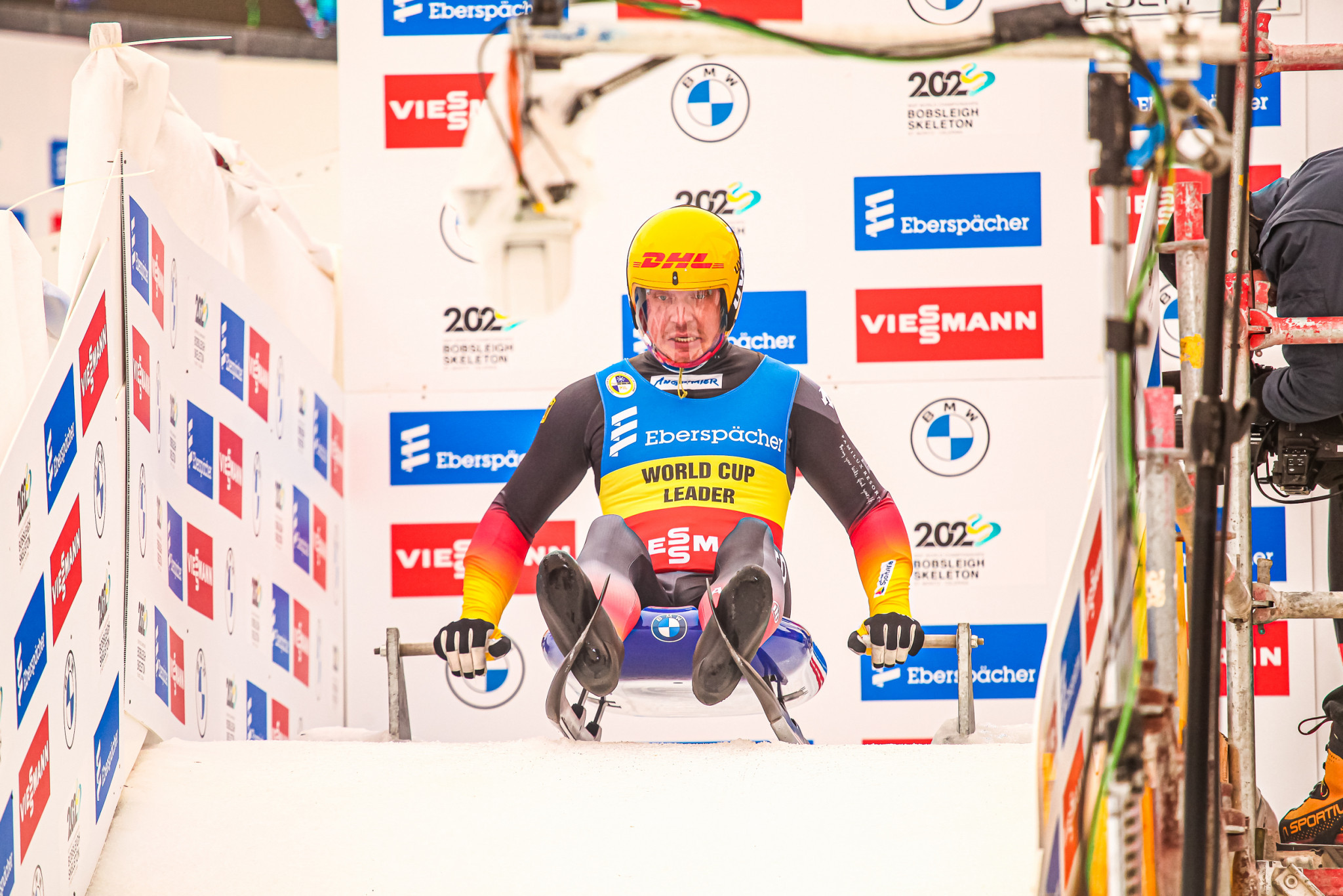 Germany's Felix Loch was prevented from winning a ninth consecutive men's singles event at the Luge World Cup ©FIL