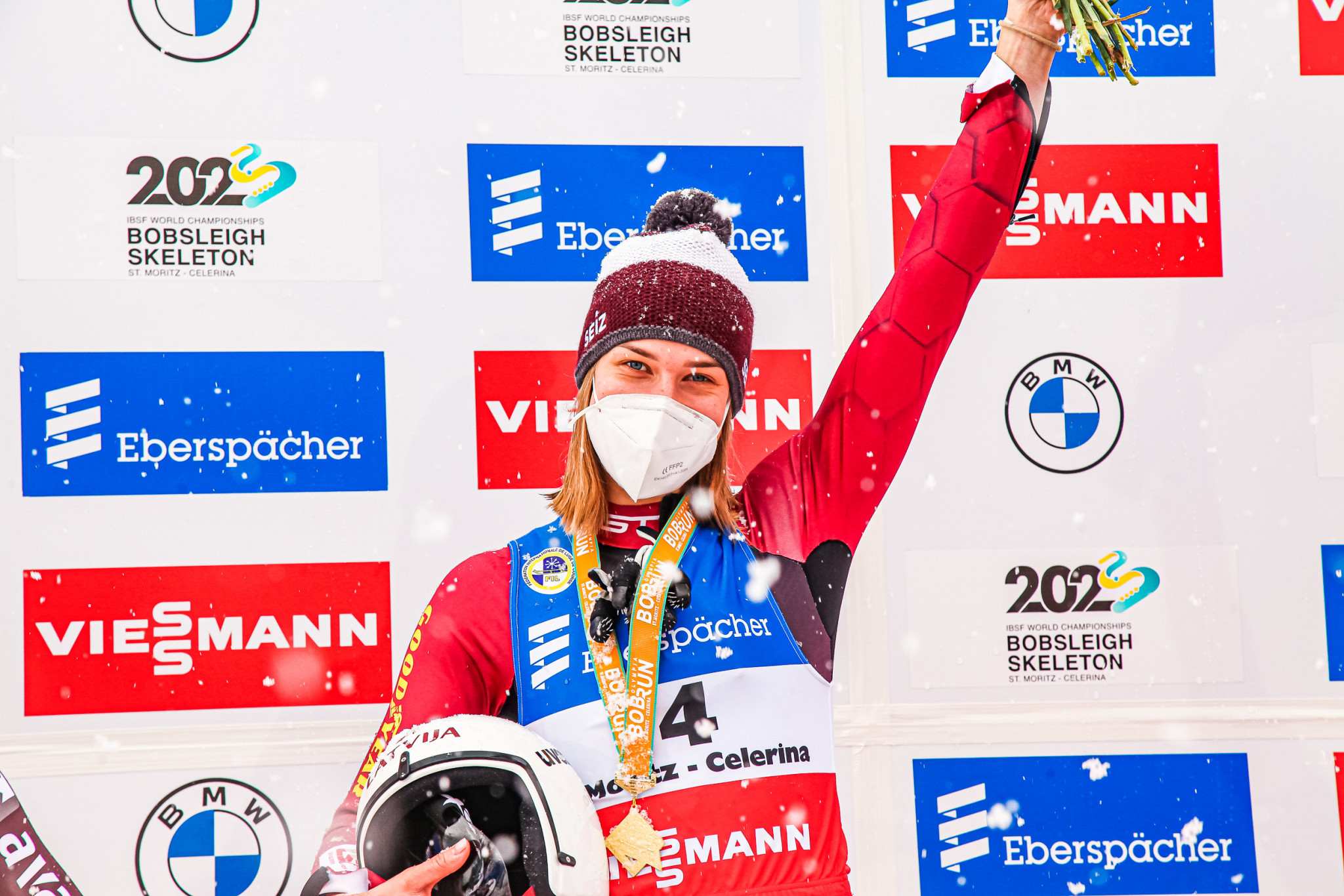 Elīna leva Vītola of Latvia topped the Luge World Cup podium for the first time in St Moritz ©FIL