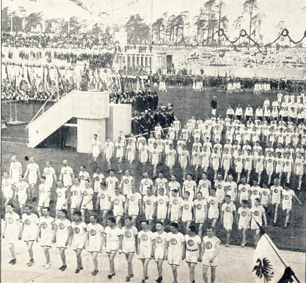 A march past at the opening of the new Berlin stadium