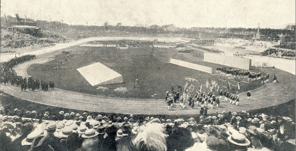 The stadium built for 1916 was later enlarged for the 1936 Games