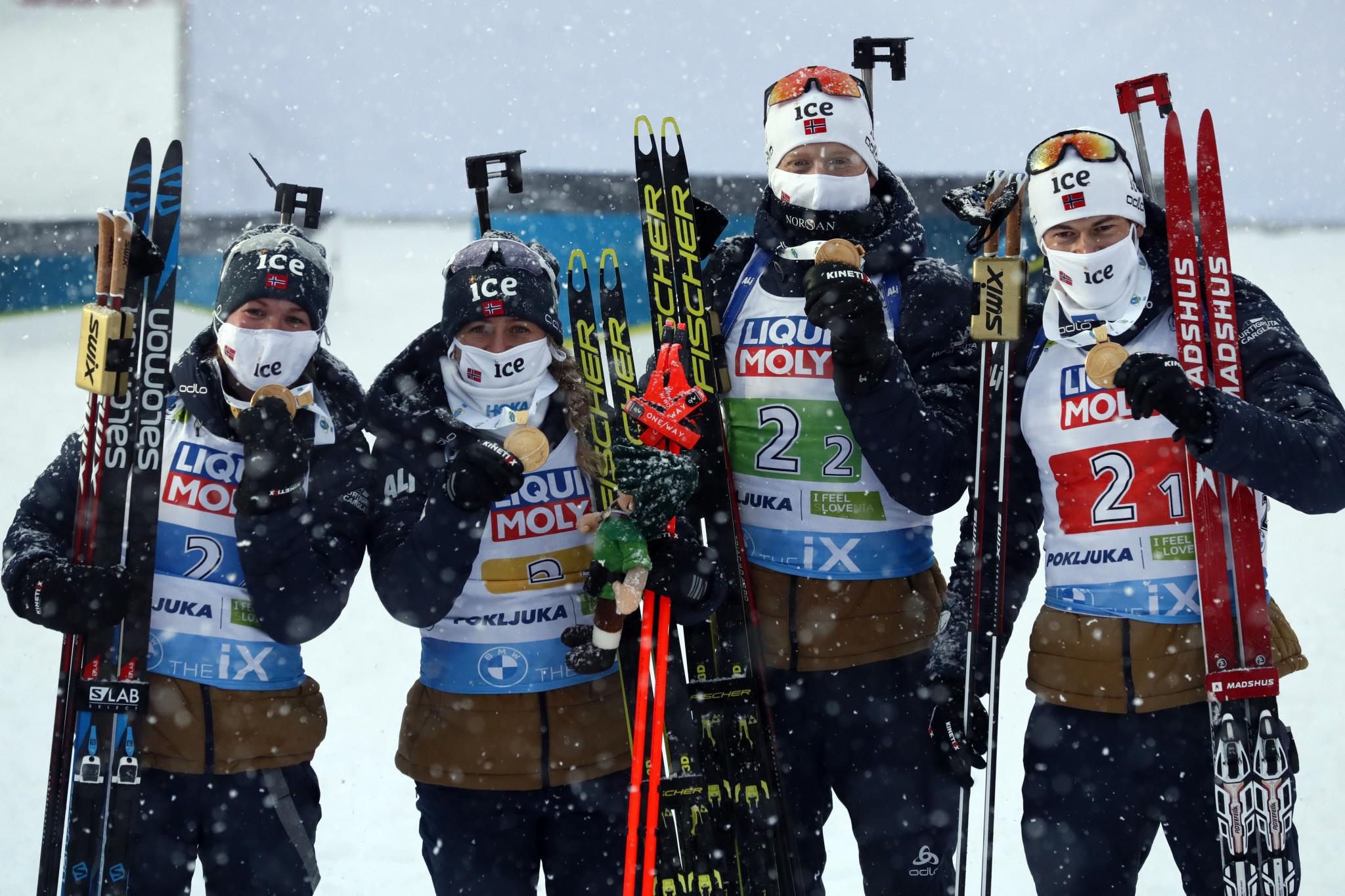 Norway triumph in mixed relay as IBU World Championships begin in Pokljuka