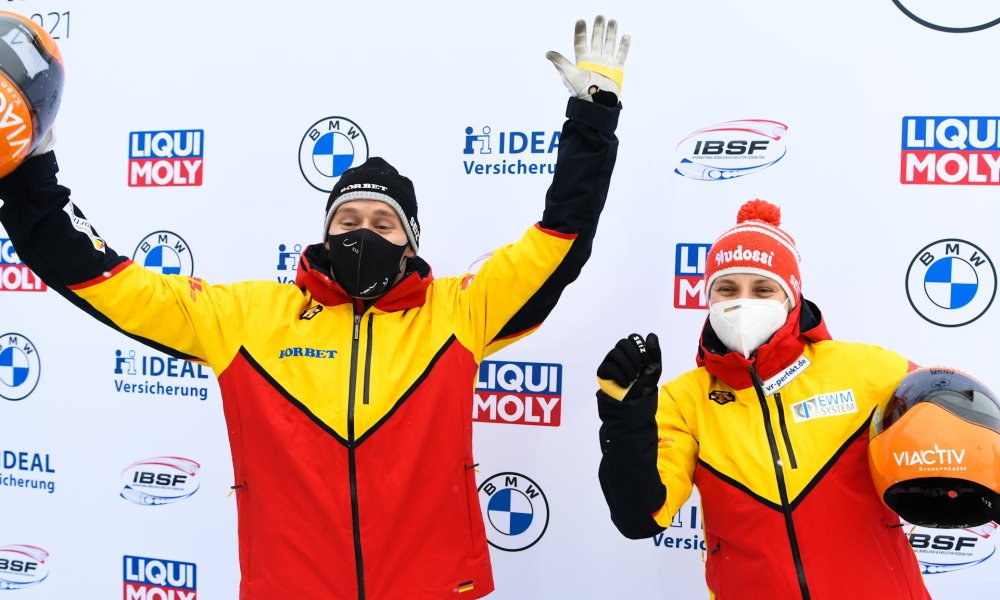 Hermann and Grotheer win mixed team skeleton gold at IBSF World Championships