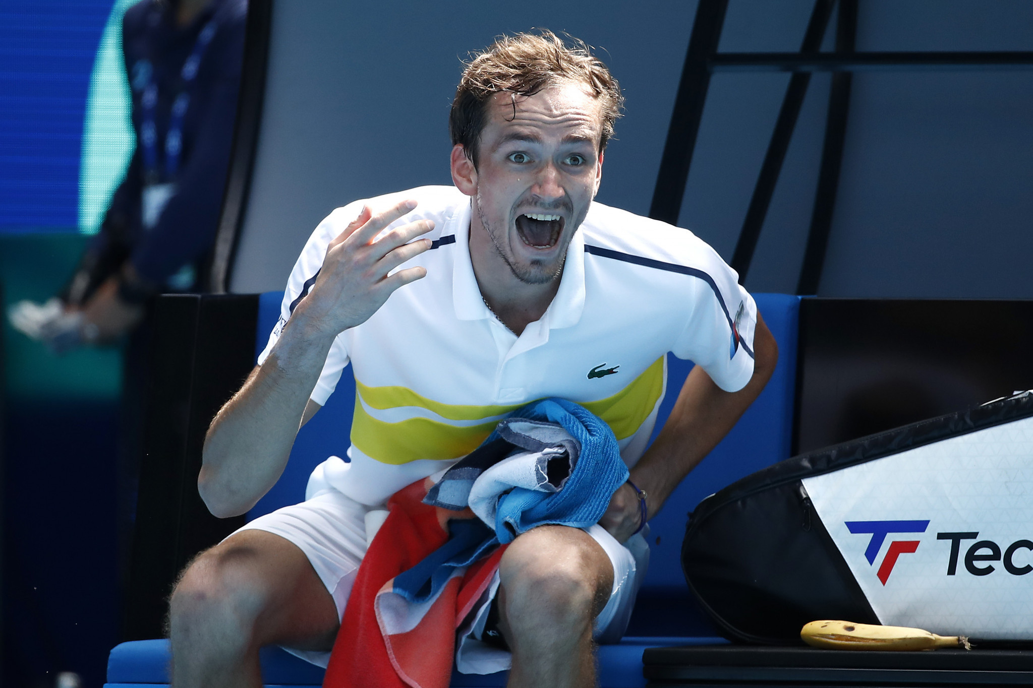 Medvedev's coach walks out during five-set victory at Australian Open