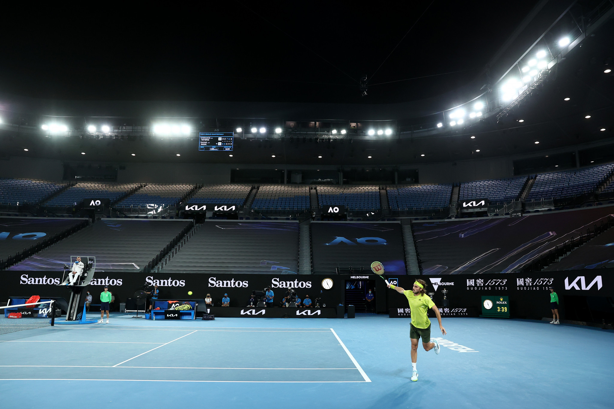 Stefanos Tsitsipas hit back in an empty Rod Laver Arena to level the match ©Getty Images