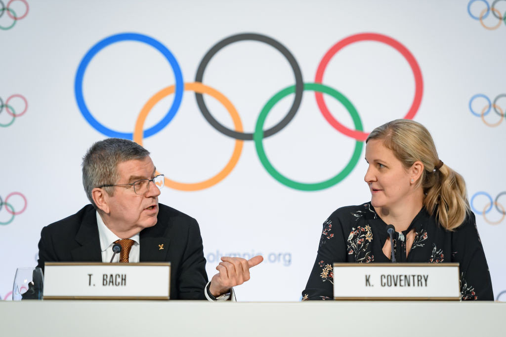 IOC Athletes' Commission chair Kirsty Coventry, right, sits on the organisation's ruling Executive Board ©Getty Images