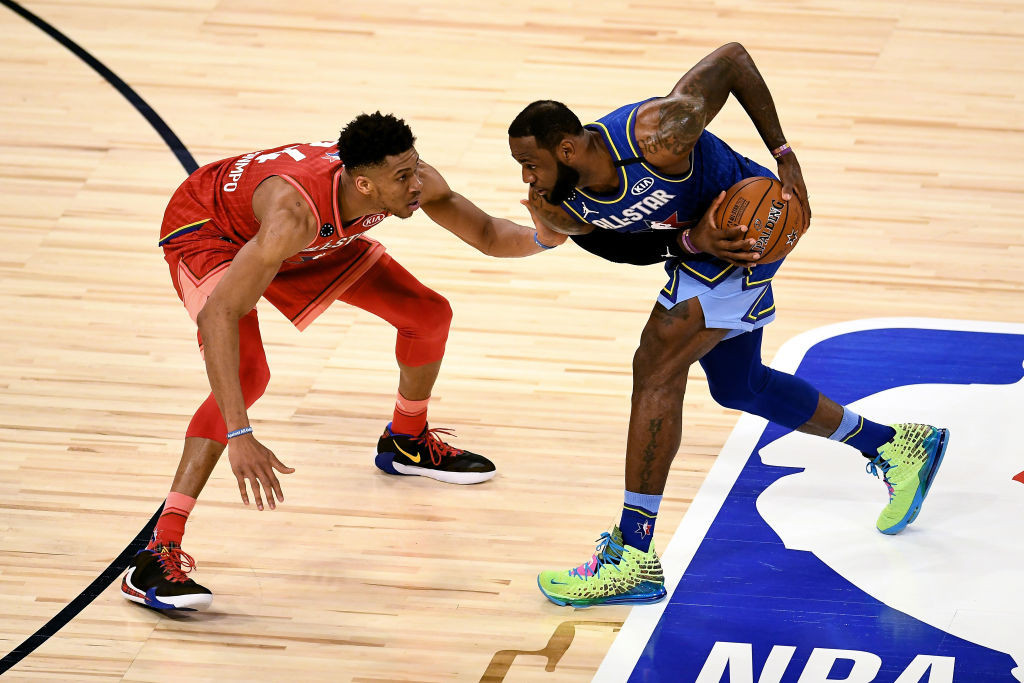 Giannis Antetokounmpo and LeBron James in action during the 2020 NBA All-Star game - plans are going ahead to hold the 2021 version in Atlanta amidst the pandemic ©Getty Images