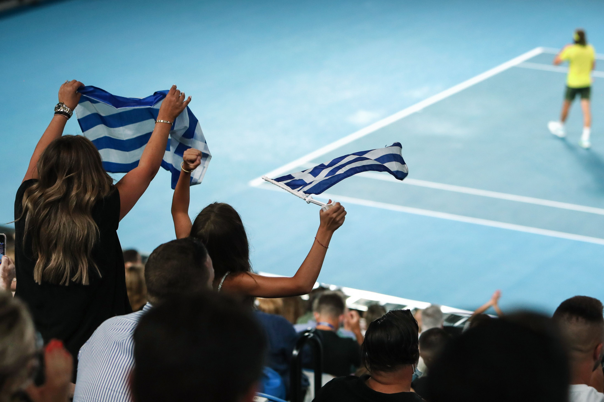 Greece's Stefanos Tsitsipas was well supported in the crowd ©Getty Images