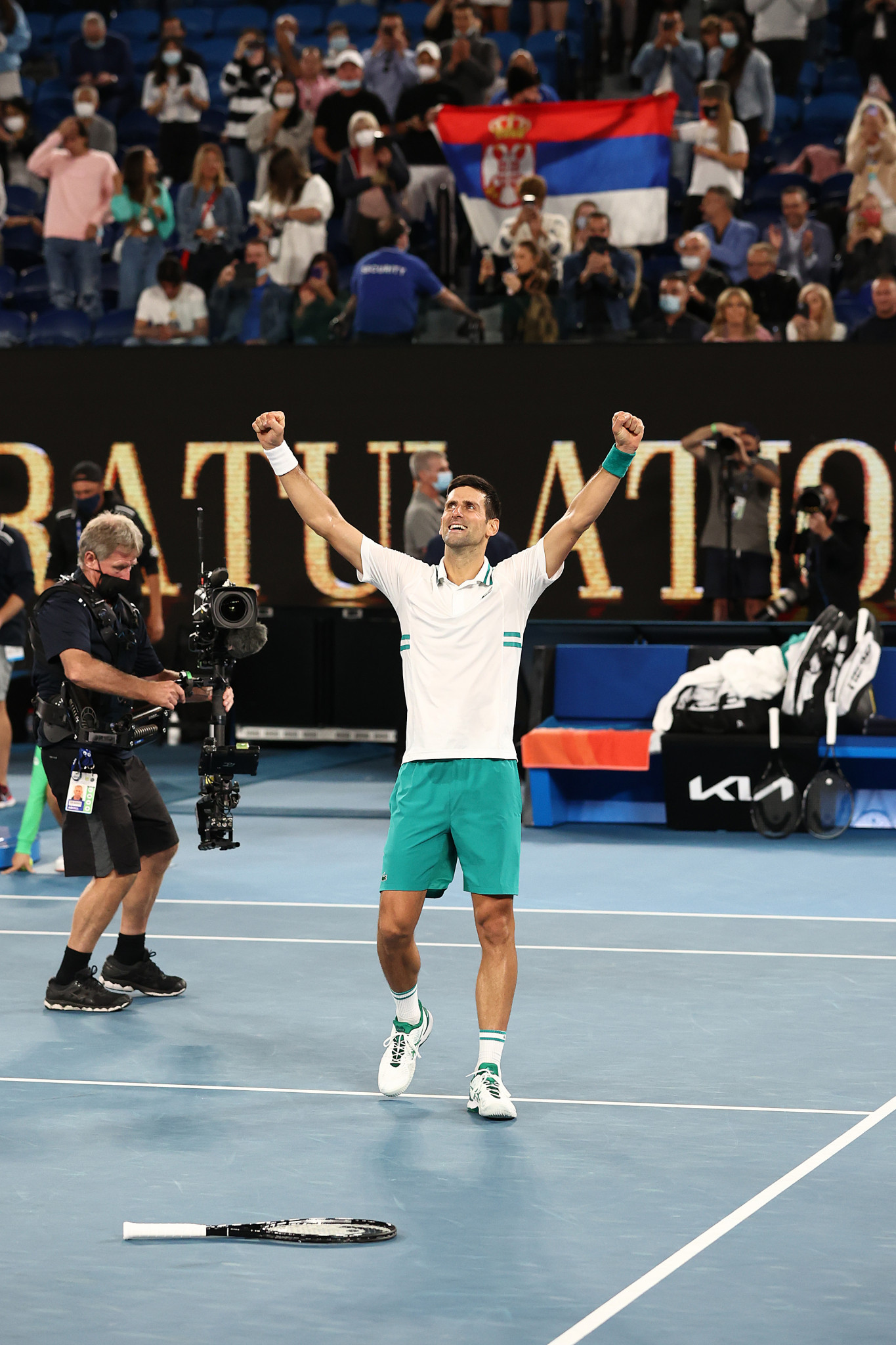 Novak Djokovic celebrates after defeating Daniil Medvedev in the Australian Open men's singles final ©Getty Images