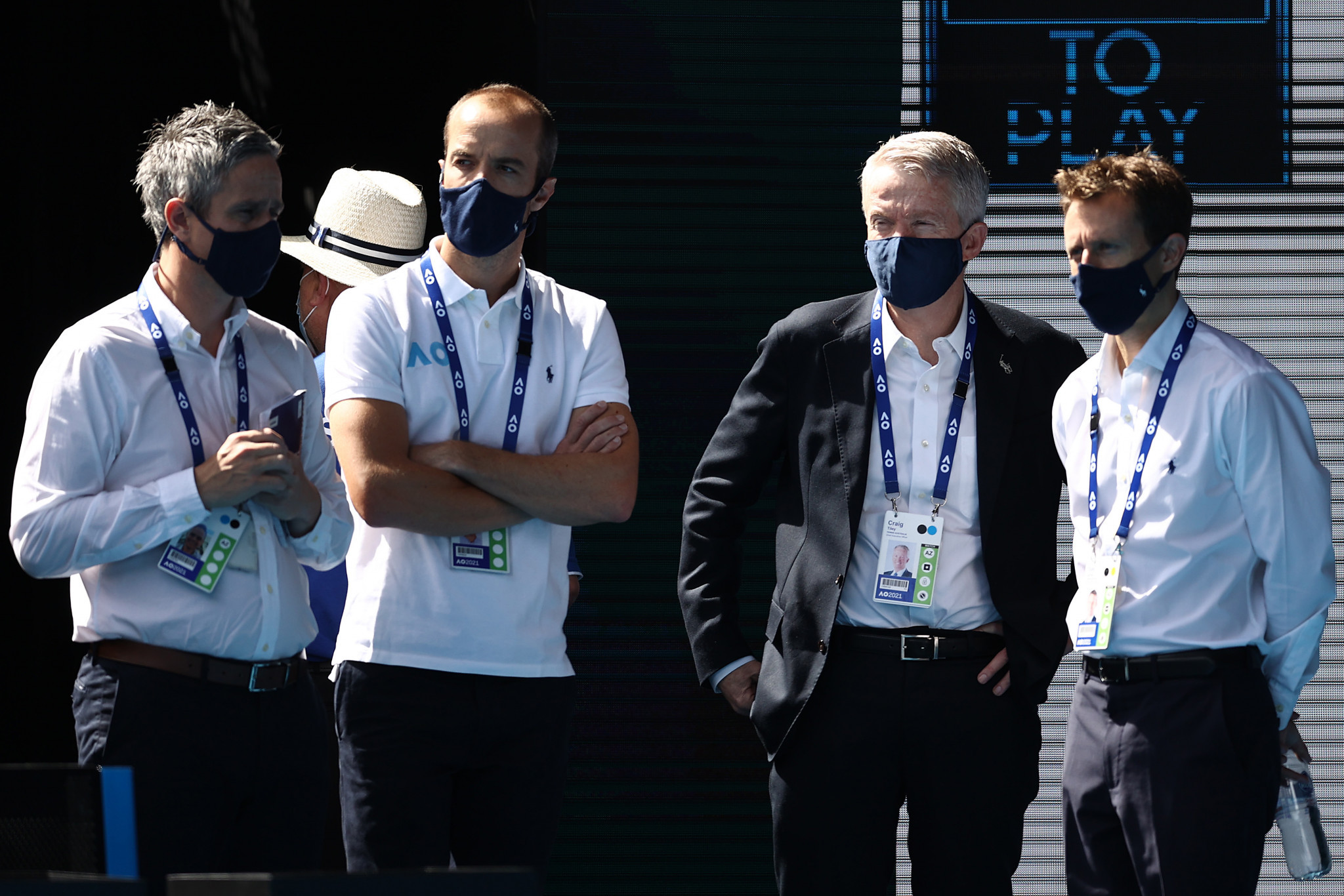 Tennis Australia chief executive Craig Tiley, second right, said he struggled to sleep during preparations for the Australian Open ©Getty Images