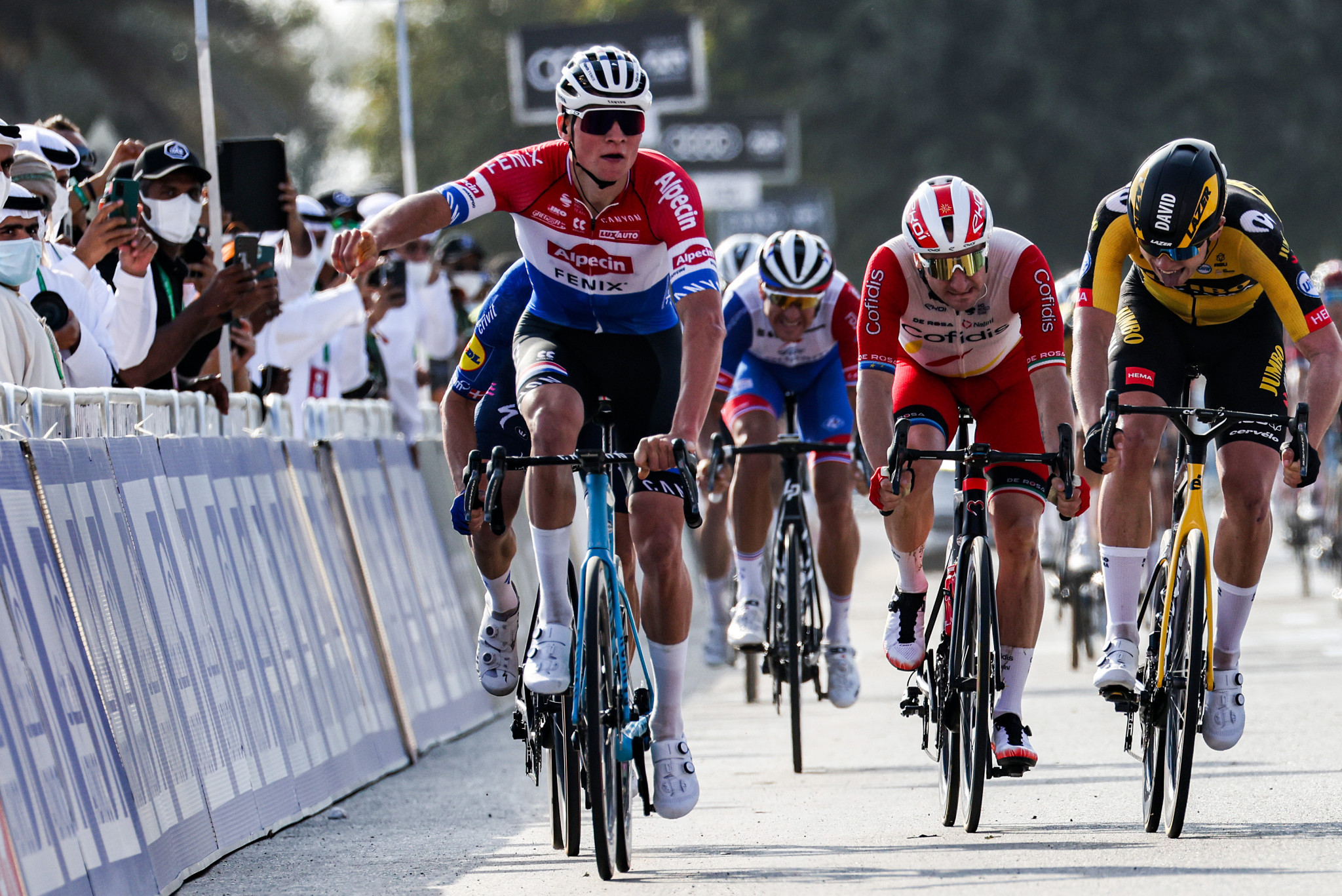 Mathieu Van der Poel came out on top in the sprint for the line to win the opening stage of the UAE Tour ©Getty Images