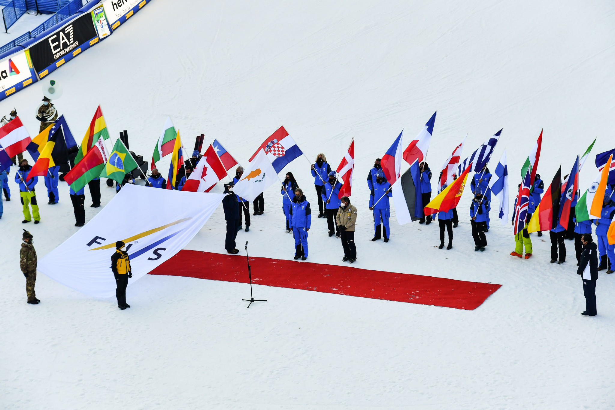 Michel Vion received the FIS flag during the Closing Ceremony of the 2021 Alpine Ski World Championships ©Getty Images