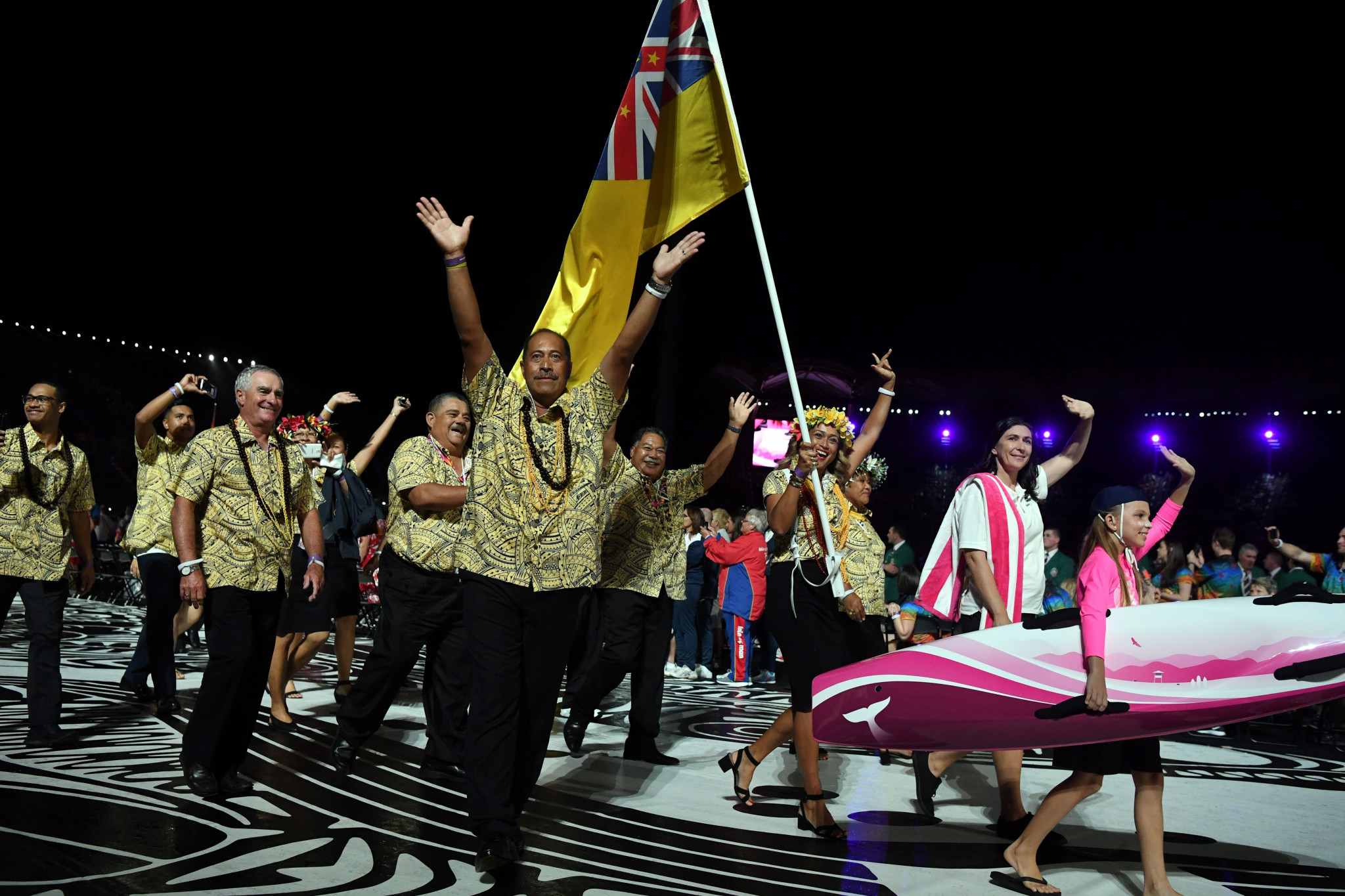 Niue, one of the smallest territories in the Commonwealth Games, enter at the Gold Coast 2018 Opening Ceremony ©Getty Images