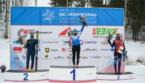 Daisy Kudre, who won Estonia's first ever gold at the World Ski Orienteering Championships in the opening day's sprint, added a silver medal in the pursuit event held today on her home course ©WOF