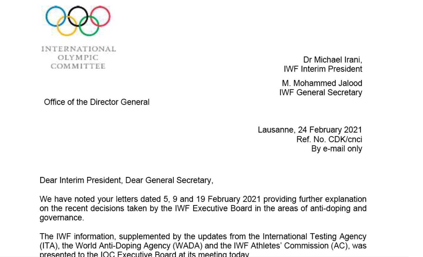 An extract from a letter in which the IOC heavily criticises the IWF and explains why it may have to threaten the sport with expulsion from the Olympic programme ©Brian Oliver