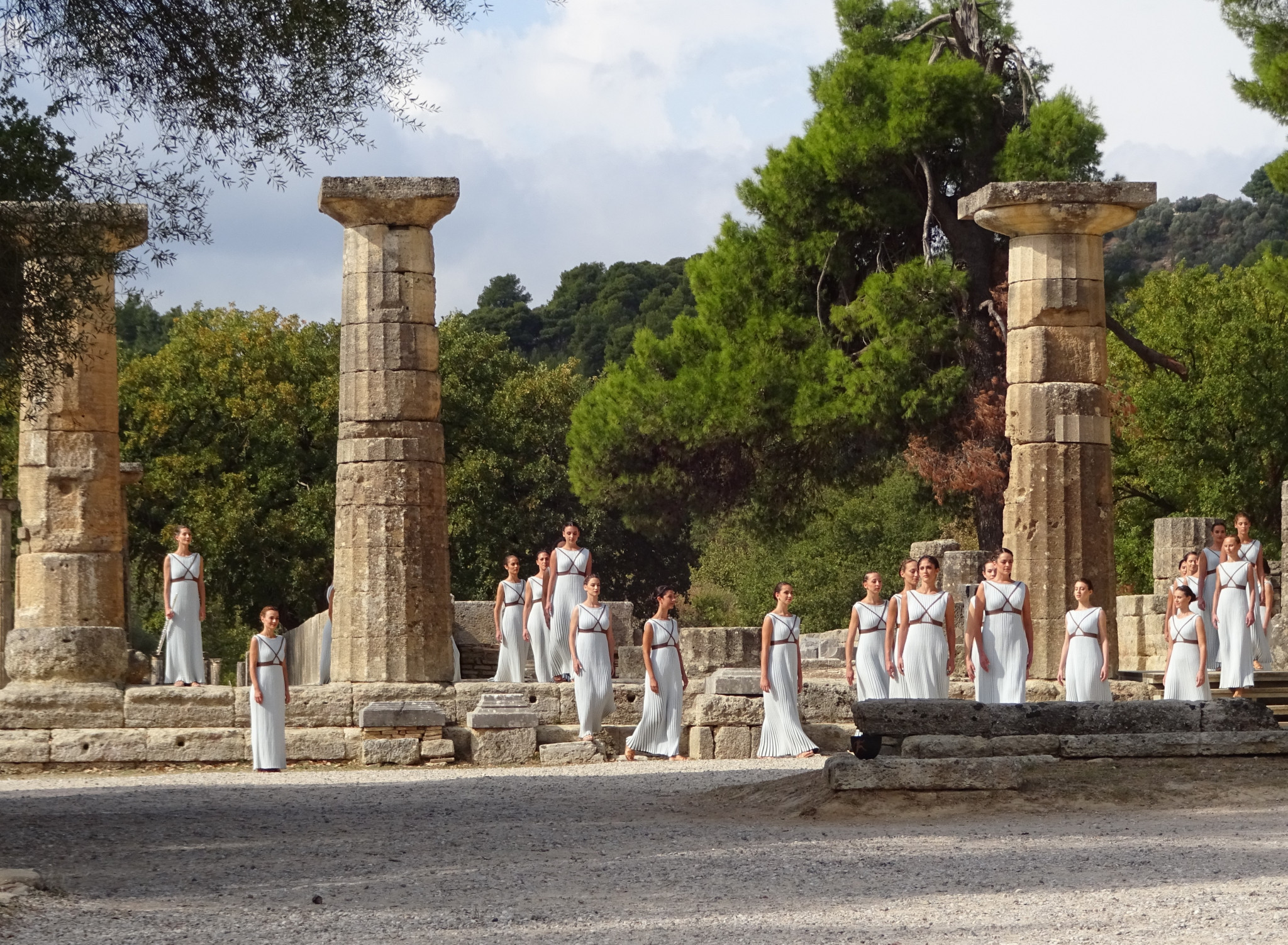 The Olympic Flame is lit in Athens before beginning its journey around the host country of the Games ©Philip Barker