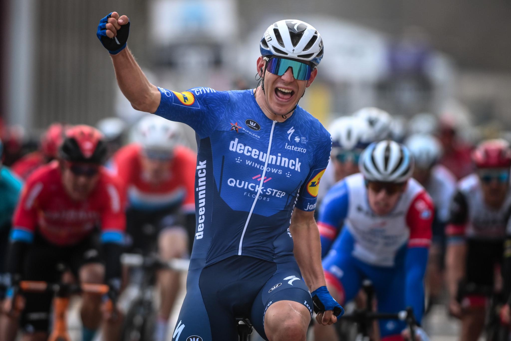 Italy's Davide Ballerini sprinted to victory at Omloop Het Nieuwsblad ©Getty Images