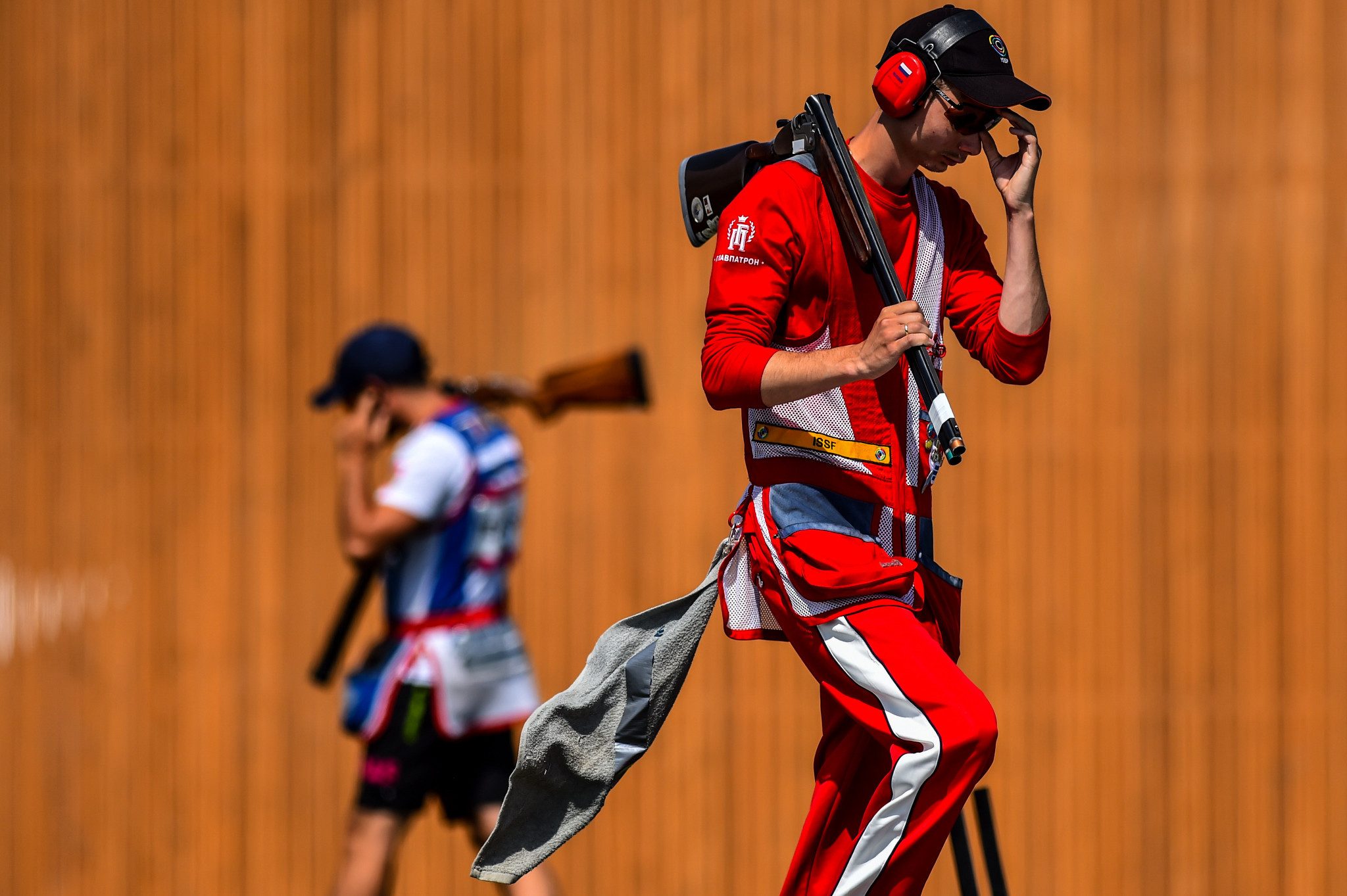 Russia's Alexander Zemlin triumphed in the mixed team skeet event alongside Alina Fazylzyanova at the ISSF Shotgun World Cup in Cairo today ©Getty Images