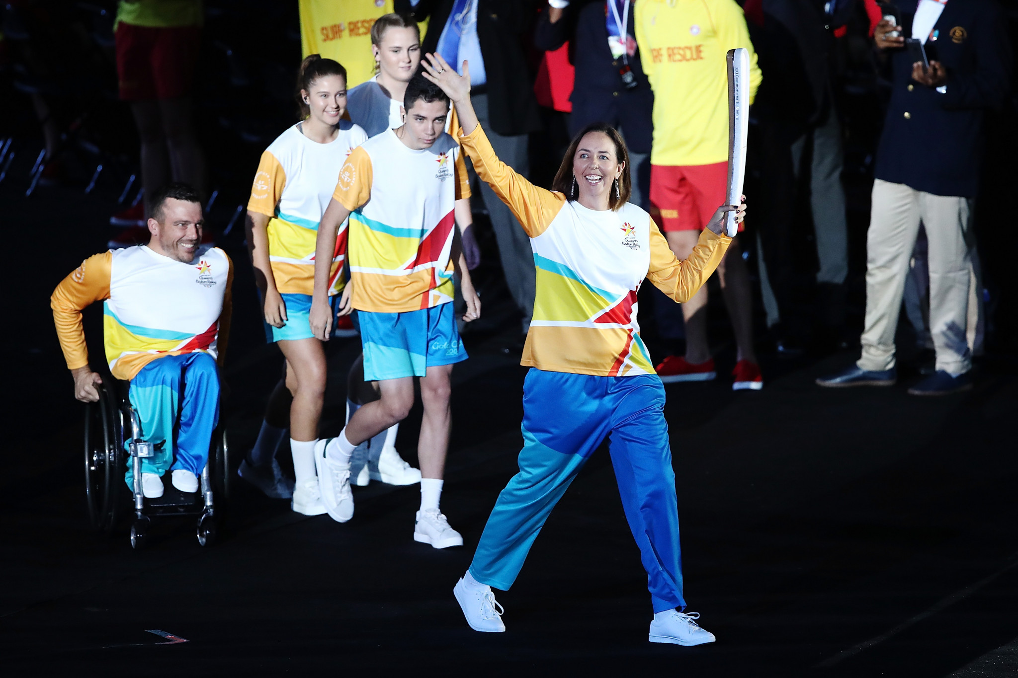 Netballer Liz Ellis showcases The Queen's Baton during the Opening Ceremony for the Gold Coast 2018 Commonwealth Games at Carrara Stadium ©Getty Images
