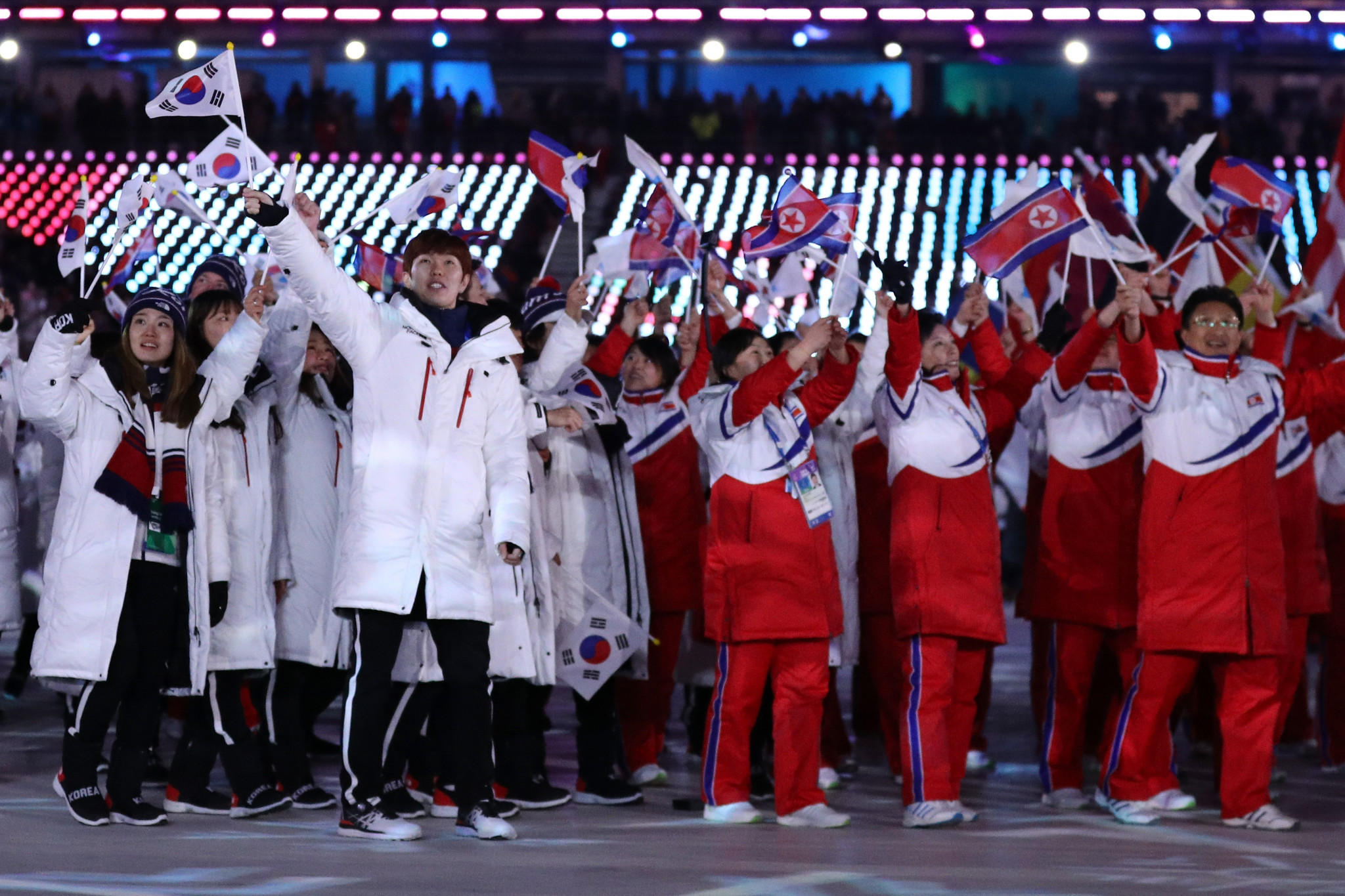 The South Korean and North Korean teams at the Pyeongchang 2018 Winter Olympics walked together during the Opening and Closing Ceremonies ©Getty Images