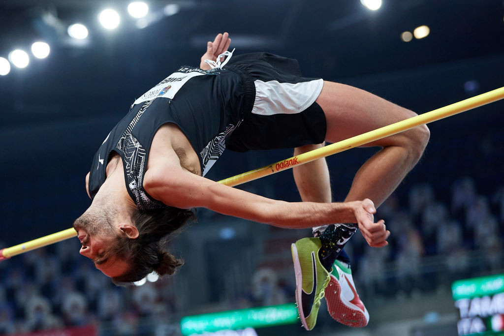 Italy's Gianmarco Tamberi, who will defend his European Athletics Indoor high jump title in Torun this week, cleared 2.34m at the same venue earlier this month and now leads the 2021 world lists on 2.35m ©Getty Images