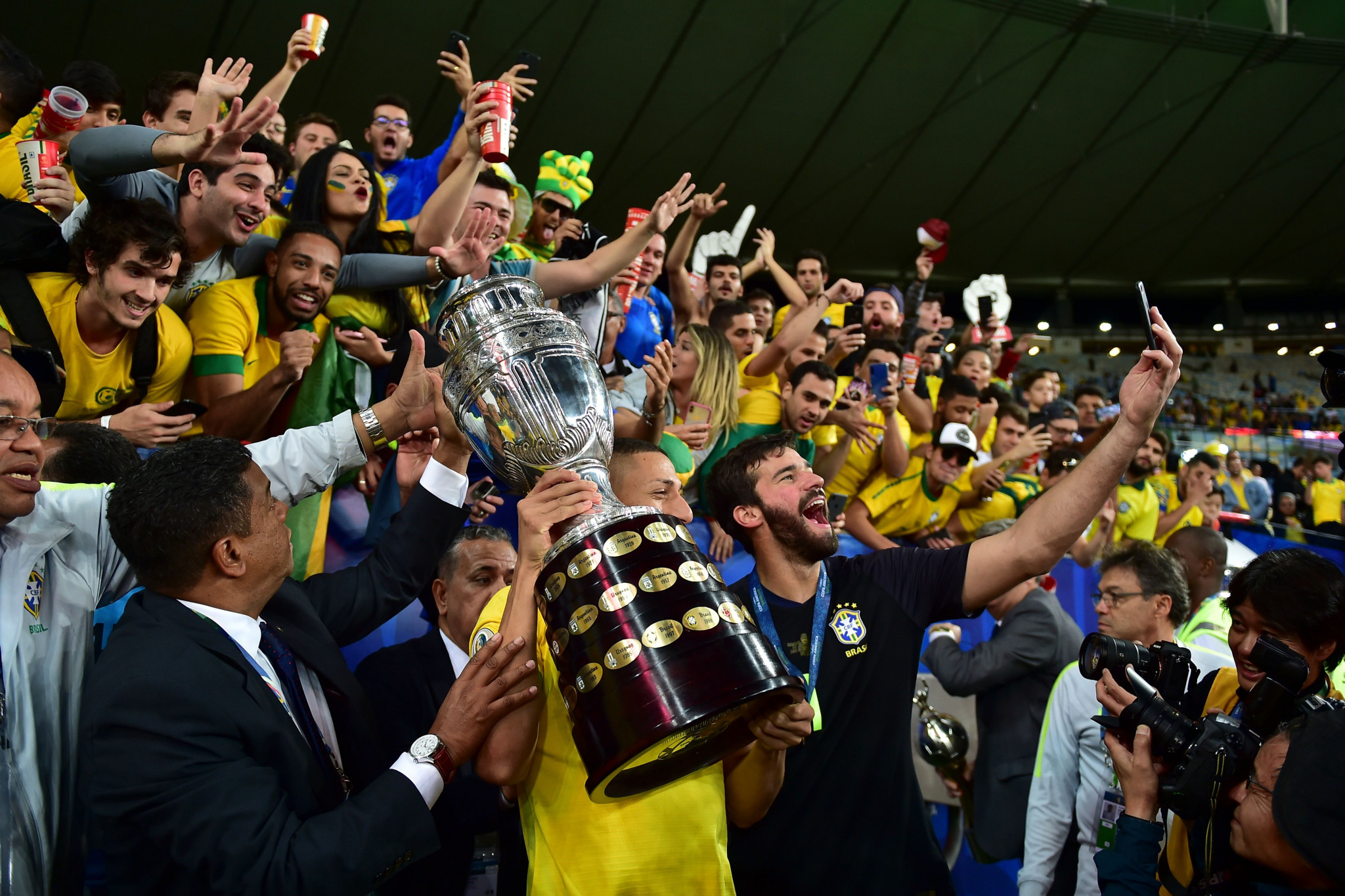 Brazil's players celebrate with fans after winning the 2019 Copa América ©Getty Images