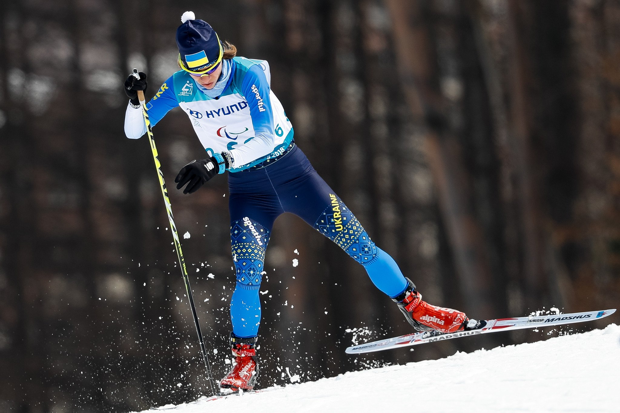 Liudmyla Liashenko topped an all-Ukrainian podium in the women's cross-country standing contest ©Getty Images