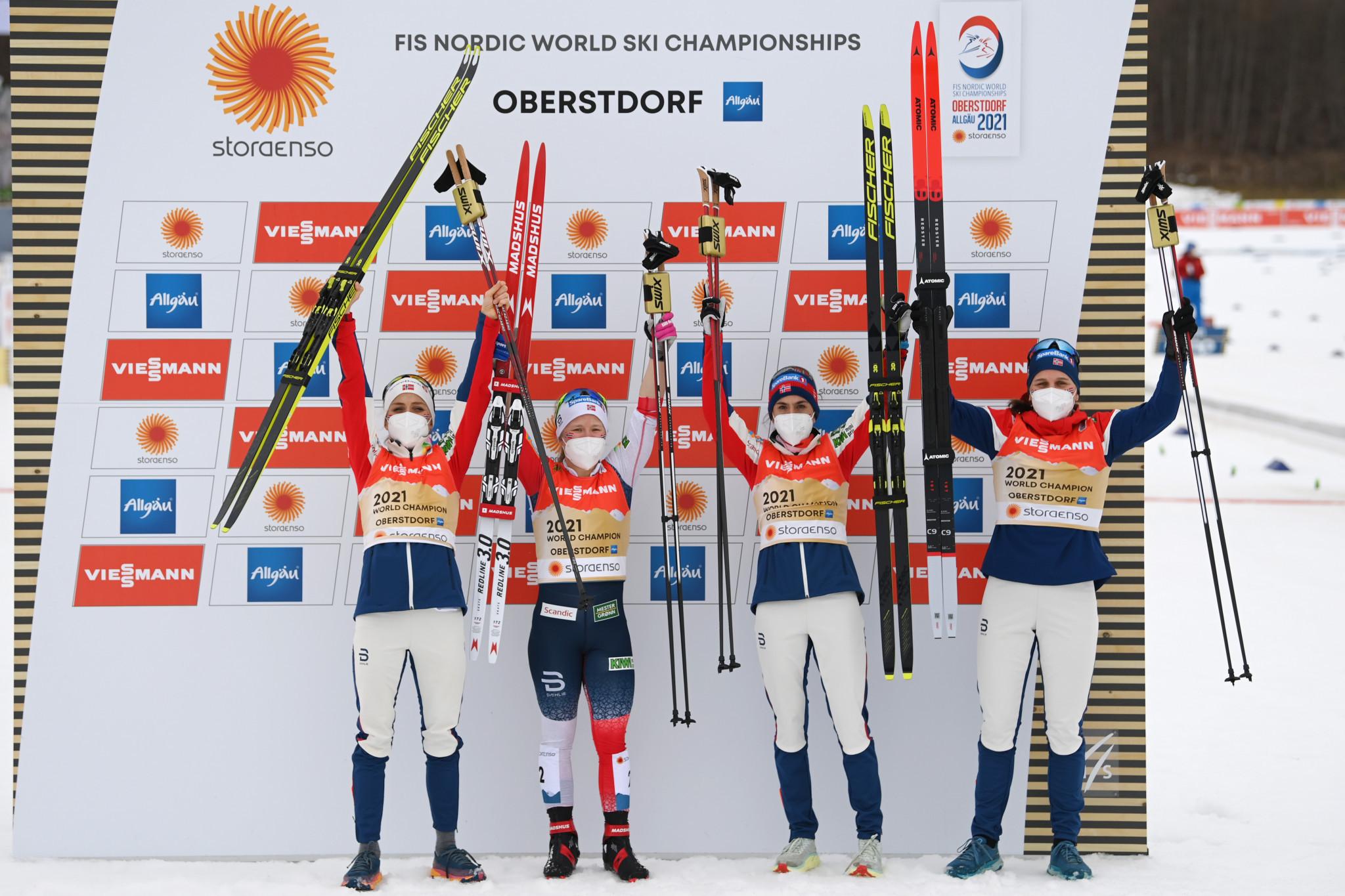 Norwegian quartet Tiril Udnes Weng, Heidi Weng, Therese Johaug and Helene Marie Fossesholm won the women's 4x5km relay ©Getty Images