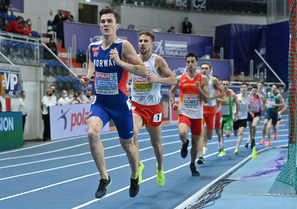 Norway's Jakob Ingebrigtsen runs for home in tonight's European Athletics Indoor 1500m final in Torun - but an earlier incident caused his disqualification, giving gold for a second time to home runner Marcin Lewandowski - until the decision was later overturned and he was reinstated ©Getty Images