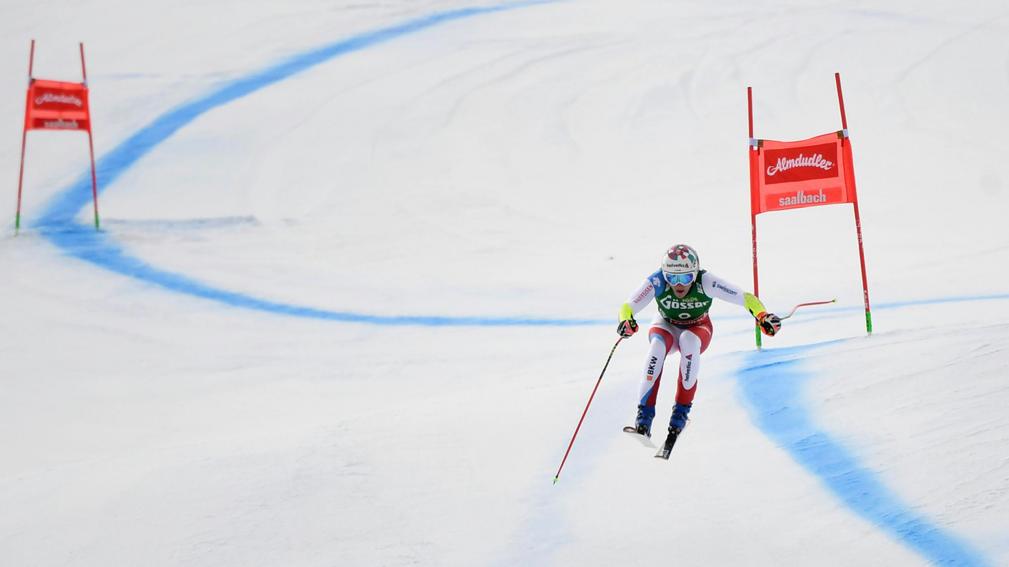 Marco Odermatt won the super-G event at the FIS Alpine Skiing World Cup in Saalbach ©Getty Images
