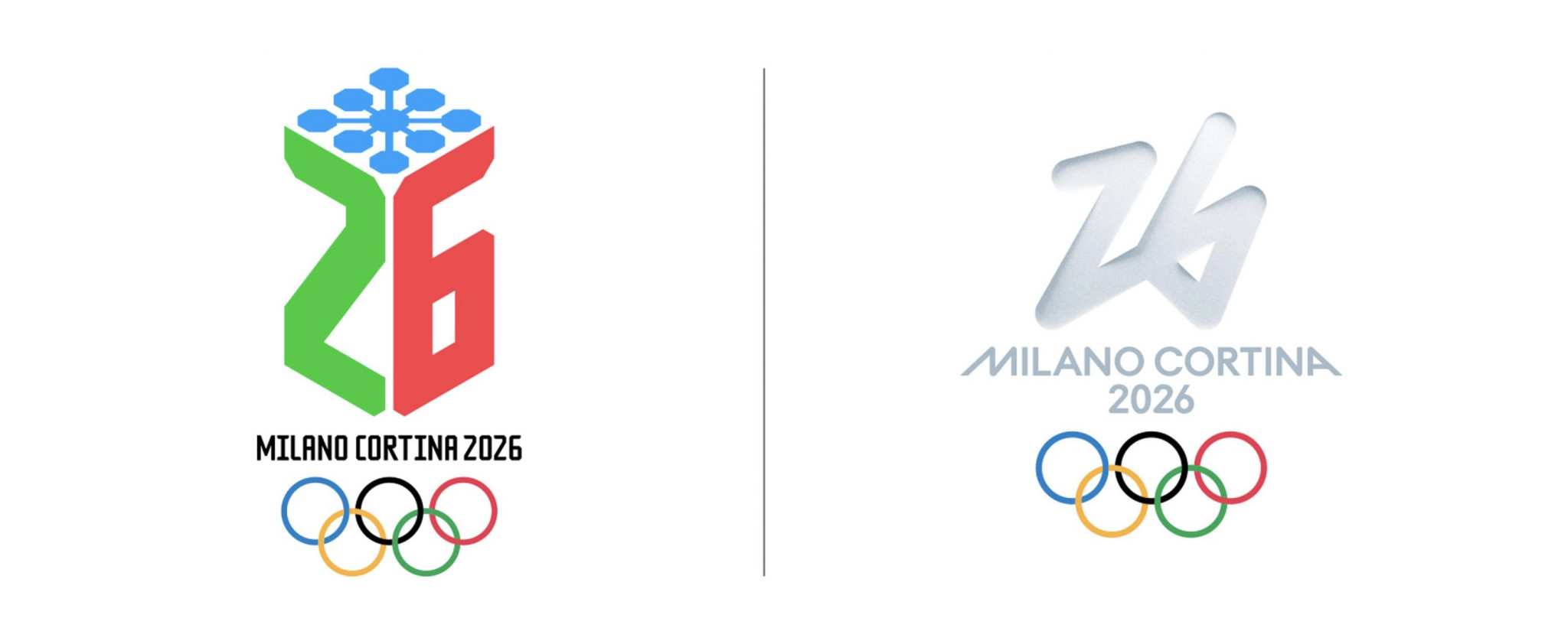 A vote to decide between two logos for Milan Cortina 2026 has begun - Futura is seen on the right and Dado on the left ©Milan Cortina 2026