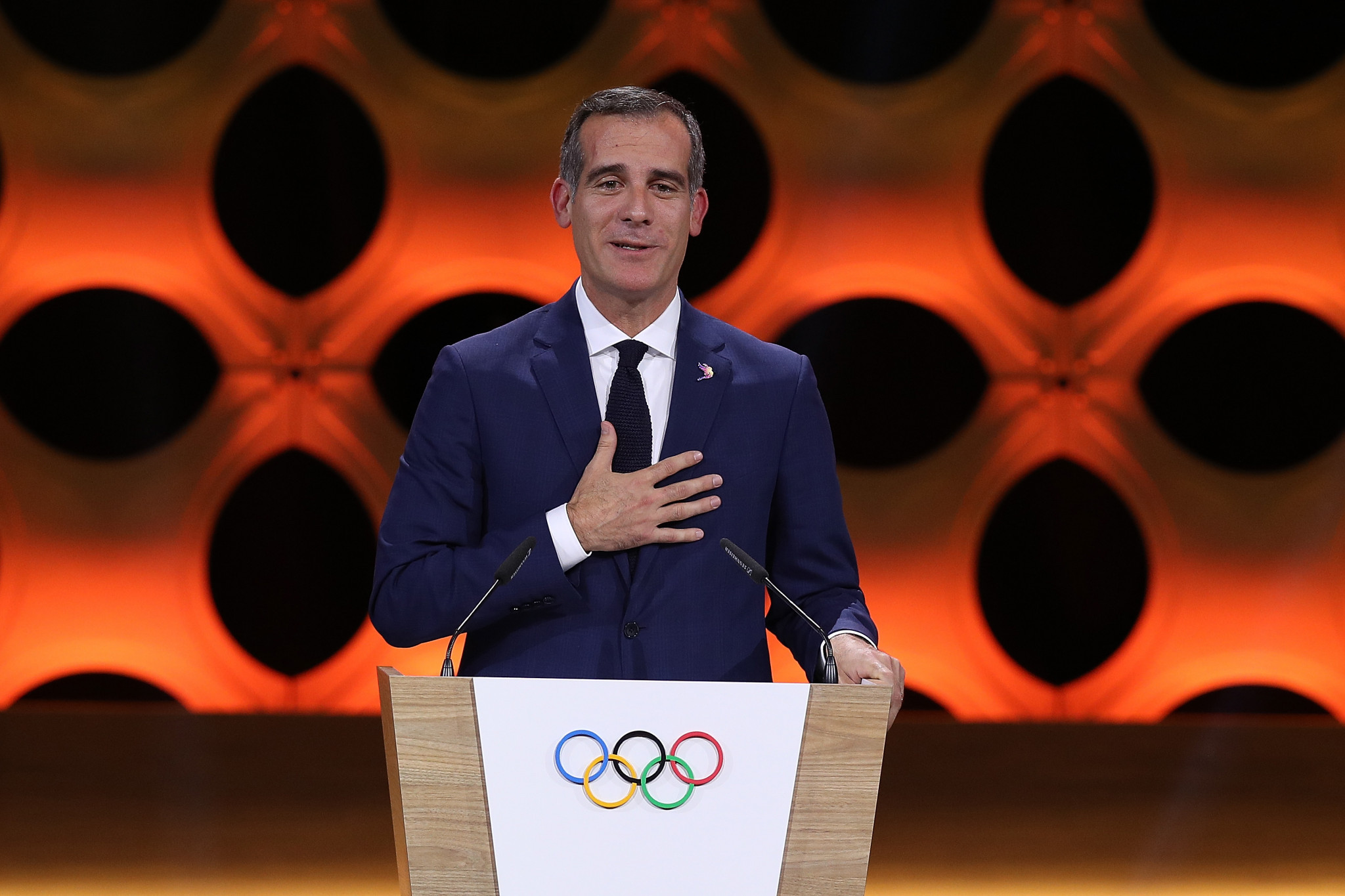 Los Angeles Mayor Eric Garcetti is expected to sign a MoU to establish the California Olympic and Paralympic Safety Command ©Getty Images