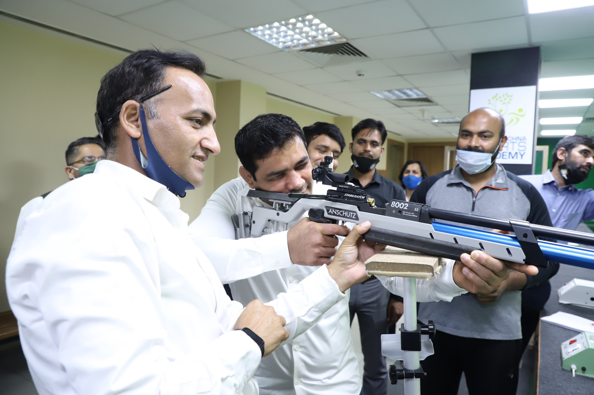 Wrestler Sushil Kumar fired the first shot at the 10-metre shooting range to mark the opening of the National Para Shooting Championship ©PCI