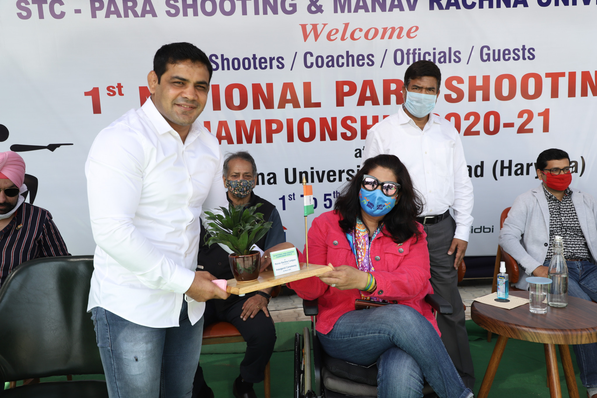 Wrestler Sushil Kumar with PCI President Deepa Malik at the inauguration of the first-ever National Para Shooting Championship ©PCI