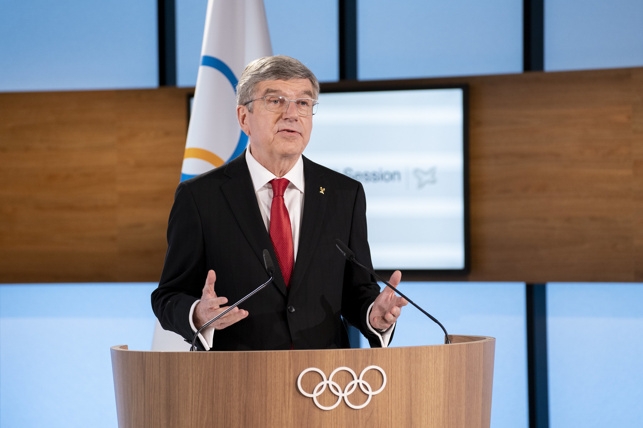 Speaking during today's virtual IOC Session IOC President Thomas Bach welcomed calls for a Refugee Team to feature at the Dakar 2026 Youth Olympics ©IOC