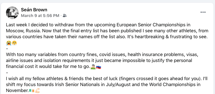 Seán Brown is another athlete unable to compete at the Continental Championships because of coronavirus restrictions ©Facebook