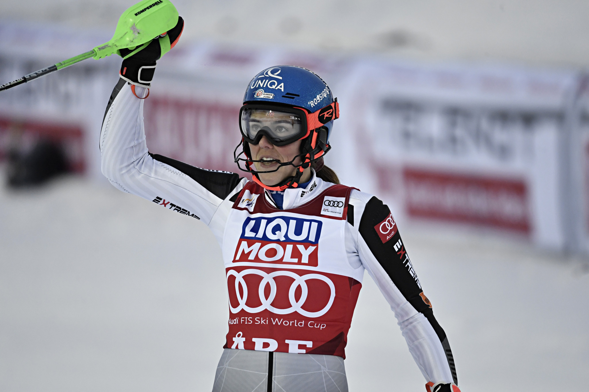 Petra Vlhová has taken the lead of the FIS Alpine Ski World Cup ©Getty Images