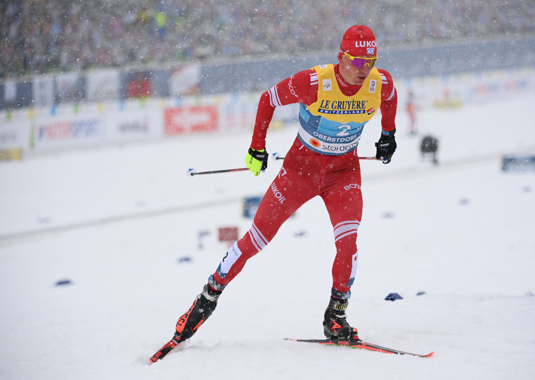 Alexander Bolshunov won the men's mass start at the FIS Cross-Country World Cup in Engadin ©Getty Images