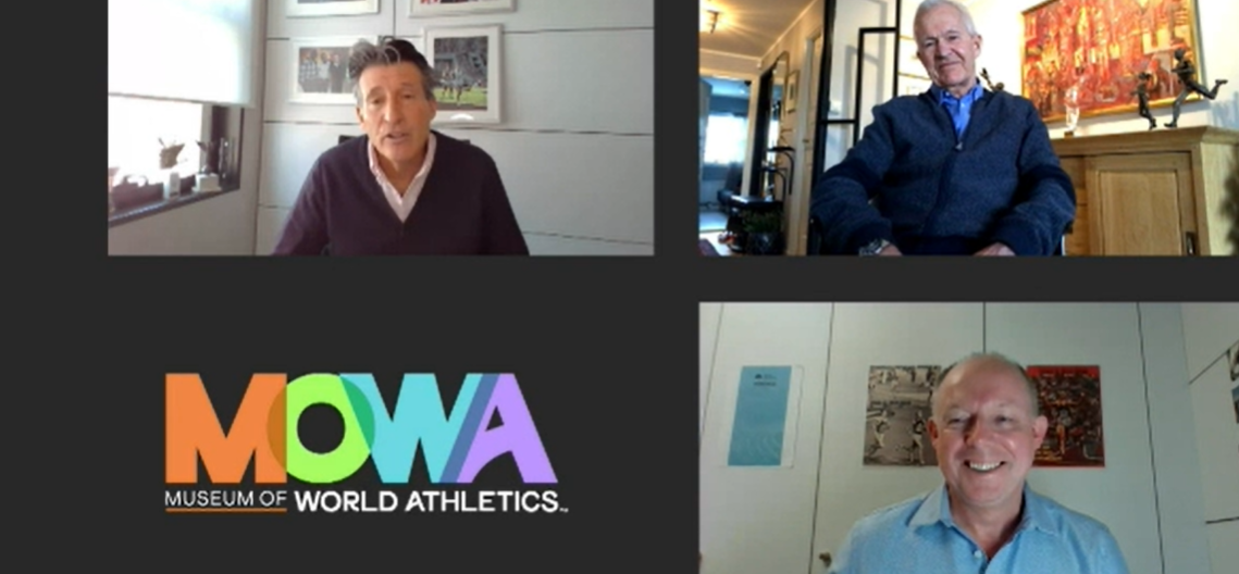 World Athletics President Sebastian Coe, top left, hailed the launch of MOWA, the world's first fully-virtual sports museum, a project overseen by Chris Turner, bottom right, head of the World Athletics heritage department. Jack Waitz, top right, has made the latest donation - a pair of shoes worn by his late wife Grete, the multiple New York and London marathon winner ©MOWA