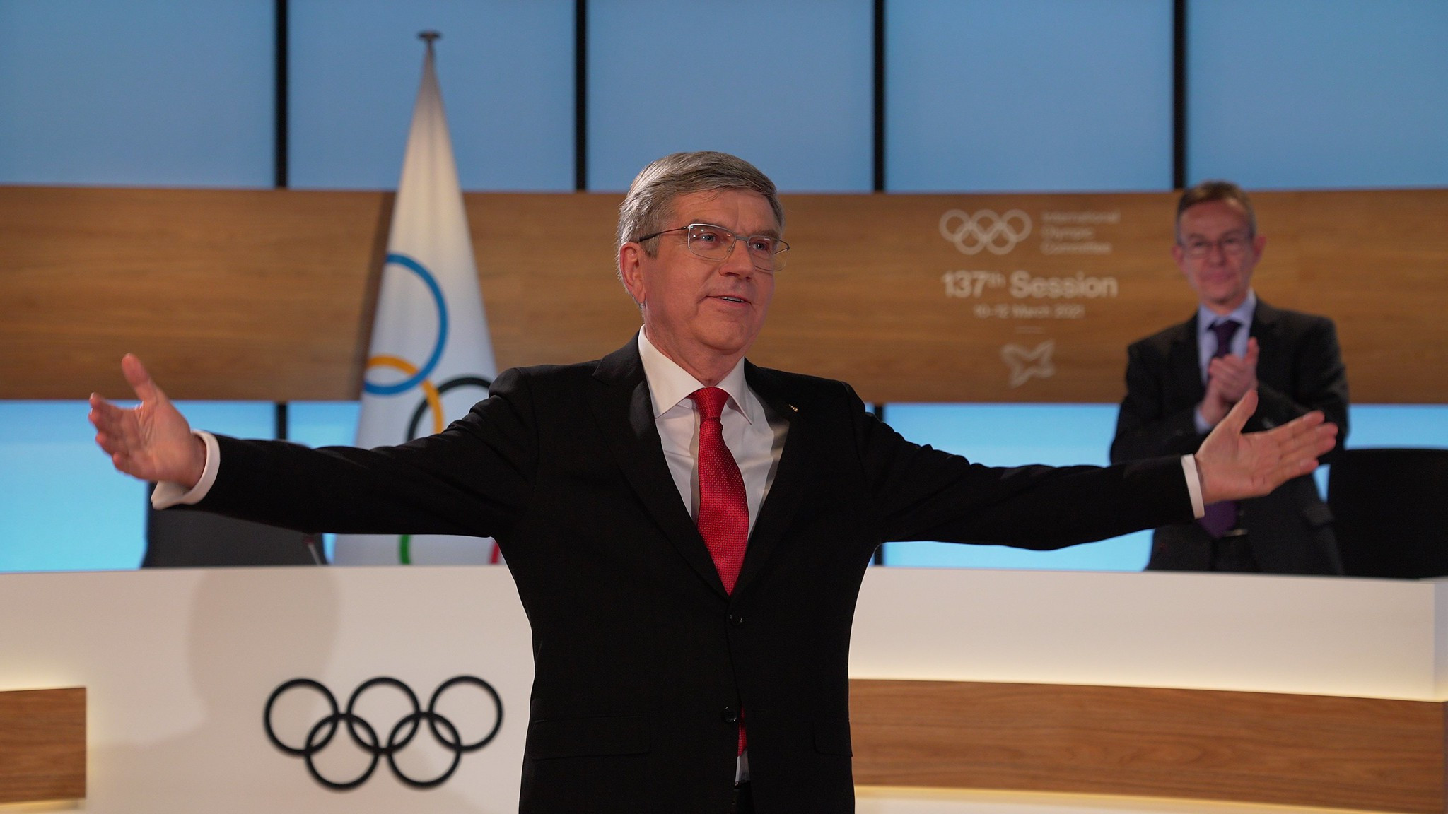 IOC President Thomas Bach was re-elected unopposed at the organisation's 137th Session, held virtually, last week ©IOC