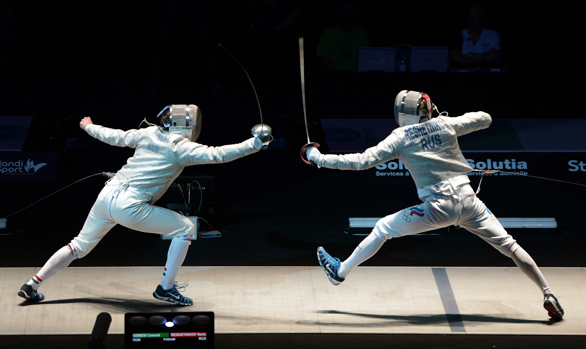 Veniamin Reshetnikov, right, helped Russia clinch team gold in Budapest ©Getty Images